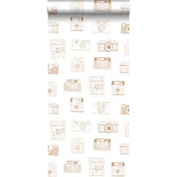 behang polaroid camera's glanzend koper bruin