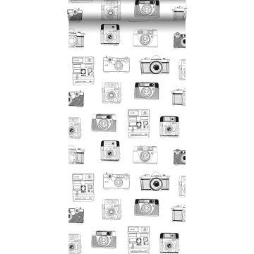 behang polaroid camera's zwart en wit