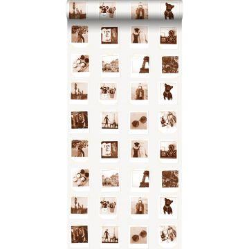 behang polaroid foto's sepia bruin en lichtbeige