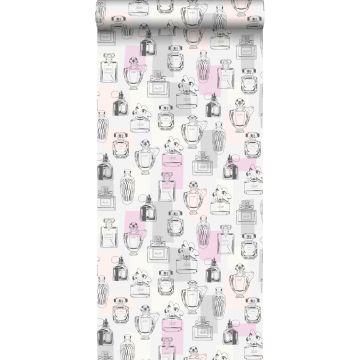 behang parfum flesjes lila paars, licht perzikroze, grijs en wit