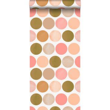 behang grote stippen perzik roze