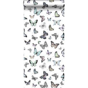 behang vlinders mintgroen en pastel paars
