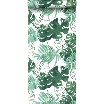 behang geschilderde tropische jungle bladeren smaragdgroen