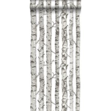 behang berken boomstammen licht warm grijs