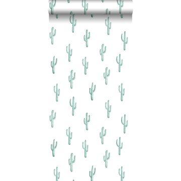 behang kleine woestijn cactussen vergrijsd turquoise