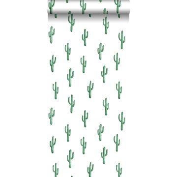 behang kleine woestijn cactussen smaragdgroen