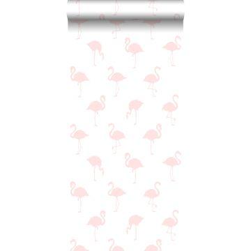 behang flamingo's licht roze en wit
