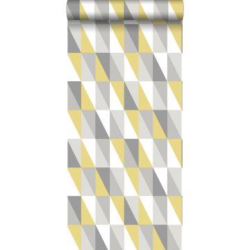 behang grafische driehoeken okergeel en grijs