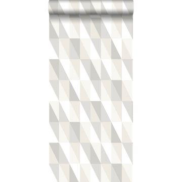 behang grafische driehoeken zilver, grijs en beige