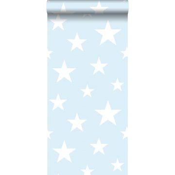behang grote en kleine sterren lichtblauw en wit