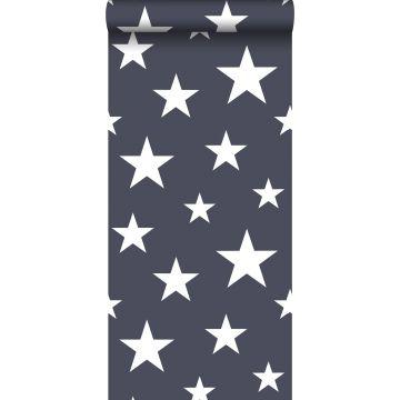 behang grote en kleine sterren donkerblauw