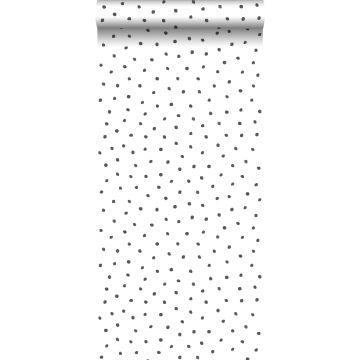 behang stippen zwart en wit