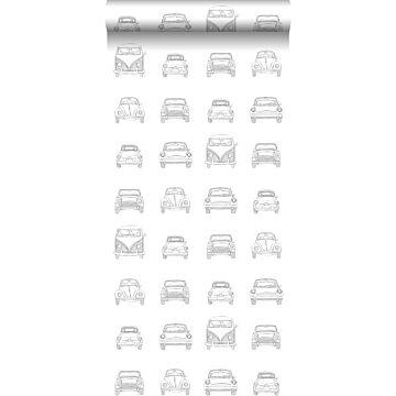 behang getekende vintage auto's zwart en wit