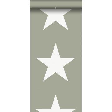behang sterren legergroen