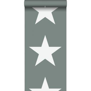 behang sterren vergrijsd groen