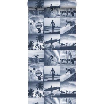 behang foto's van surfers donkerblauw
