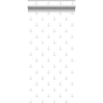 behang ankers wit en zilver
