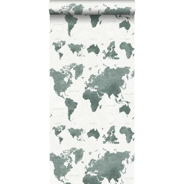 behang vintage wereldkaarten vergrijsd groen
