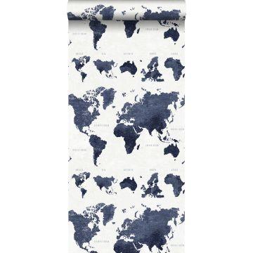 behang vintage wereldkaarten donkerblauw