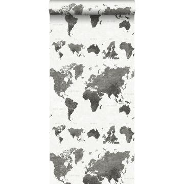 behang vintage wereldkaarten donkergrijs