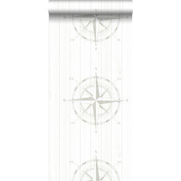 behang kompasroos op sloophout zilver en wit