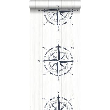 behang kompasroos op sloophout donkerblauw en wit