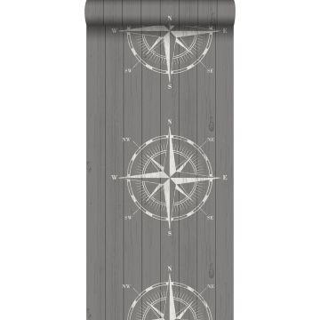 behang kompasroos op sloophout wit en grijs