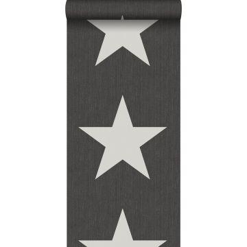 behang sterren op denim jeans stof donkergrijs