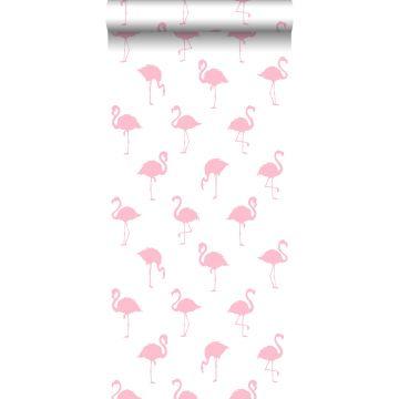 behang flamingo's roze en wit