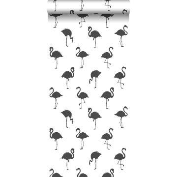 behang flamingo's zwart en wit