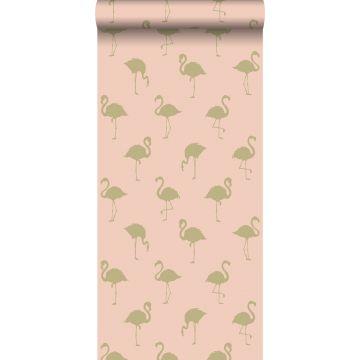 behang flamingo's goud en perzik roze