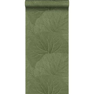 behang grote bladeren vergrijsd olijfgroen