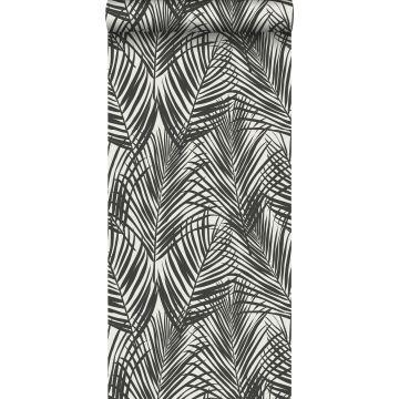 behang palmbladeren zwart en wit