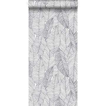 behang getekende bladeren zwart en wit