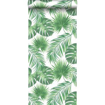 behang tropische bladeren groen