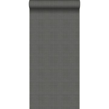 behang linnenstructuur donkergrijs
