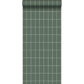 behang kleine tegeltjes vergrijsd groen en wit
