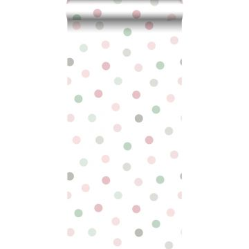 behang kleine stippen roze, groen en grijs