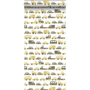 behang auto's okergeel en bruin