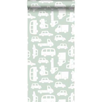 behang auto's mintgroen
