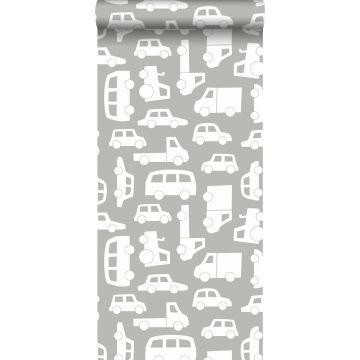 behang auto's warm grijs