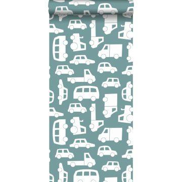 behang auto's vergrijsd blauw