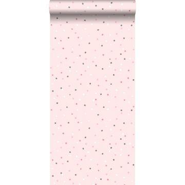 behang kleine stippen roze en warm grijs