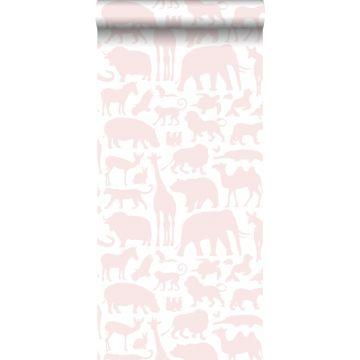 behang dieren zacht roze