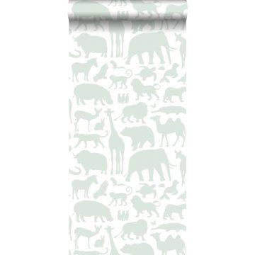 behang dieren mintgroen