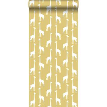 behang giraffen okergeel