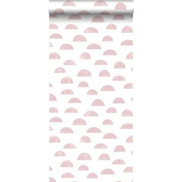 behang grafisch motief roze
