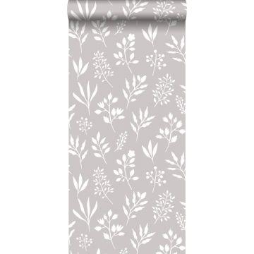 behang bloemmotief in Scandinavische stijl warm grijs en wit