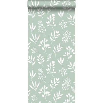 behang bloemmotief in Scandinavische stijl mintgroen en wit