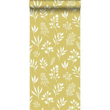 behang bloemmotief in Scandinavische stijl okergeel en wit